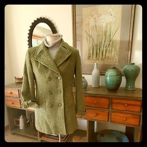 Esprit Vintage Green Tweed Wool Coat M
